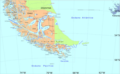 Map of the Straits of Magellan